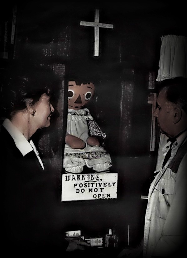 "16. ""Annabelle"" the real-life version of the Conjuring doll is kept in an archive along with several other objects from Ed and Lorraine's investigations."