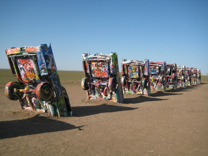 11. Cadillac Ranch near Amarillo, the only place in the country where old Cadillacs are half-buried in the ground.