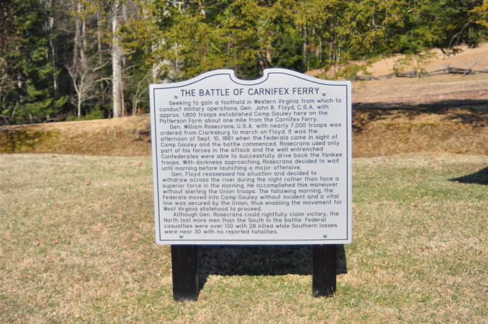 1) The Battle of Carnifex Ferry took place on September 10, 1861 in Nicholas County, WV.