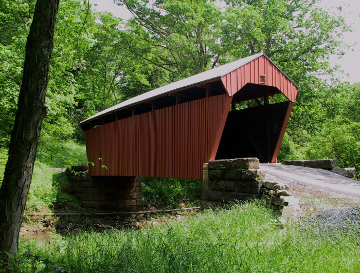 6. The Fletcher Covered Bridge is located in Cutler, Harrison County, WV.