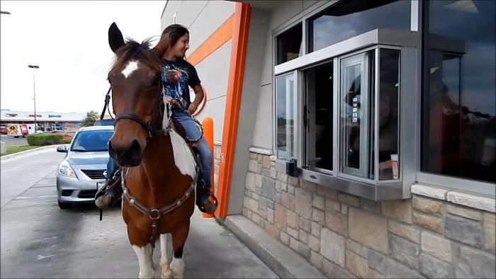 5) People picking up some Whataburger on horseback