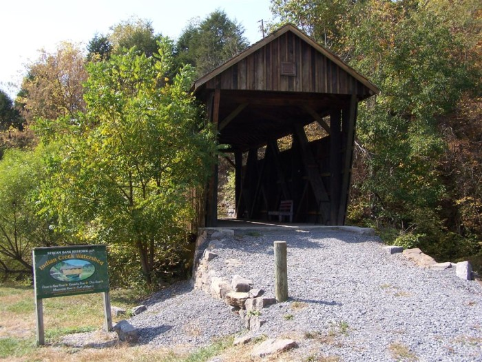 4. The Indian Creek Covered Bridge is located in Union, Monroe County.