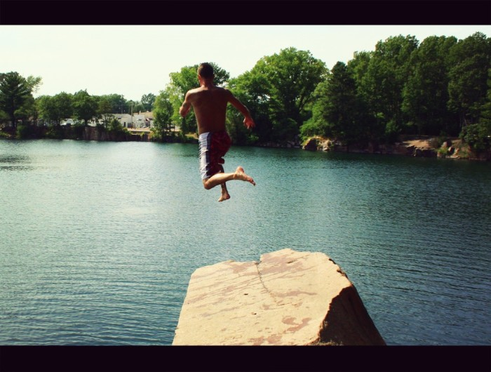 8. Jump off a tall rock into a lake. Whee!