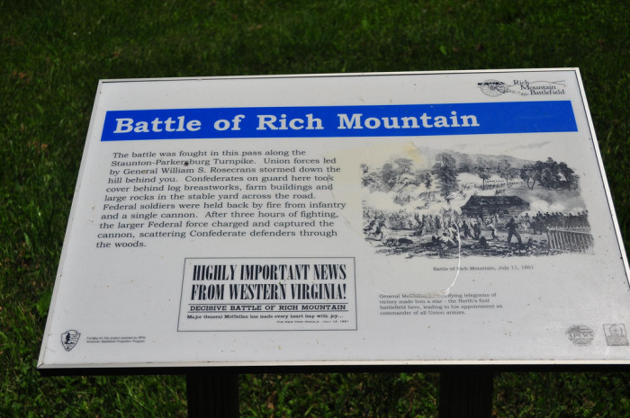 9) The Battle of Rich Mountain, which is located in Randolph County, happened on July 11, 1861.