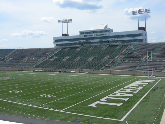 7) The Joan C. Edwards Astroturf football stadium has a capacity of 38,227 people.