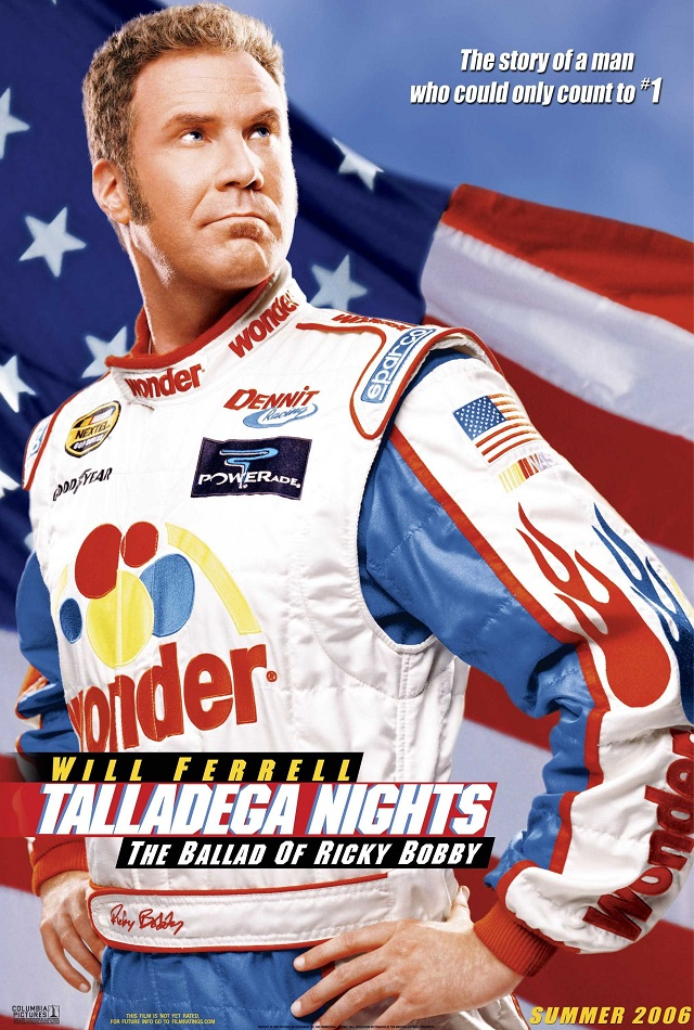 5.) Talladega Nights: The Ballad of Ricky Bobby - Released in 2006, and starring Will Ferrell and John C. Reilly, this movie was of course partially filmed at Talladega Superspeedway.  The name of the title speaks for itself!