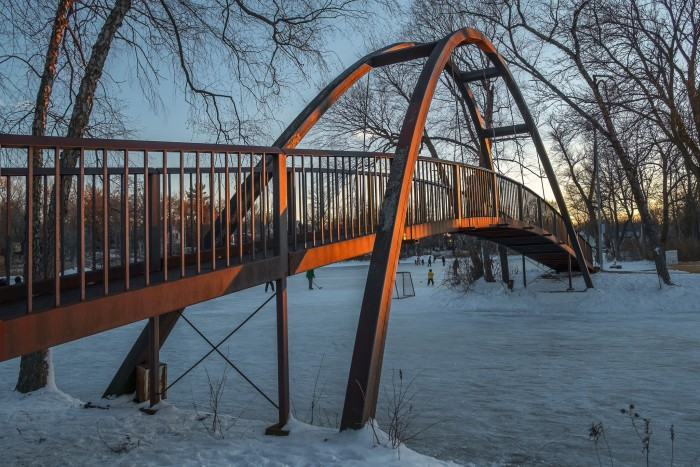 7. Tenney Park (Madison). This park boasts a number of beautiful bridges, any of which are suitable for that first kiss.