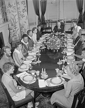 """10. 1958, Governor and Mrs. Hodges host the """"See North Carolina Luncheon"""" at the Governor's Mansion in Raleigh."""