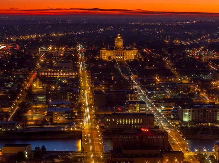 10. Bustling city lights by the capitol building