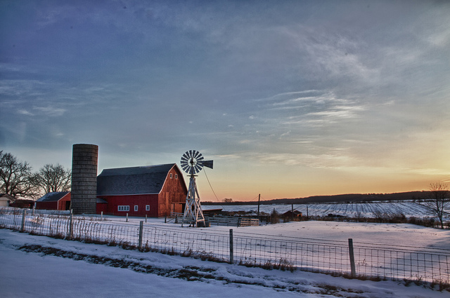 10. This bright red barn stands out against the pale snow in Norwalk, Iowa.
