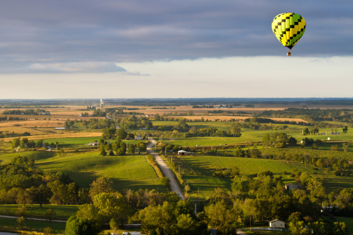 12. Hot air balloons floating over Indianola