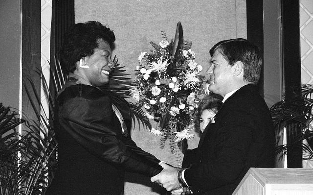 6. 1987, Maya Angelou with Governor Jim Martin at the North Carolina Awards.