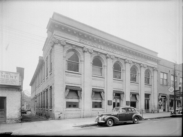 5. 1945, Edwards and Broughton exterior on Salisbury Street in Raleigh.