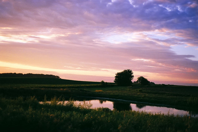 14. A pastel summer sunset over a charming Abbe Creek Pond.
