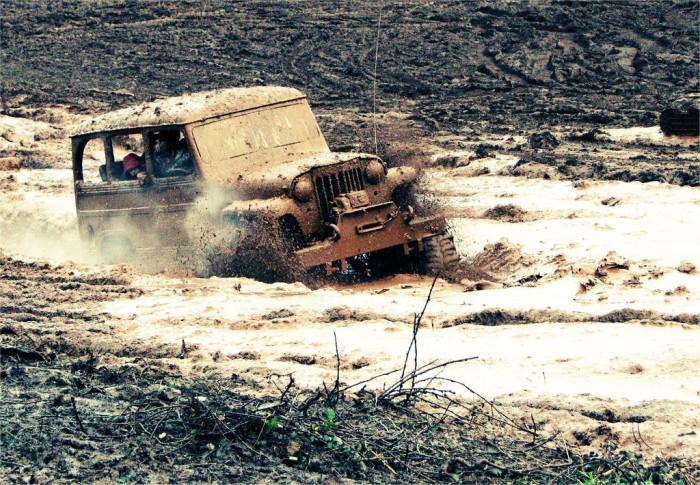 mud bogging.
