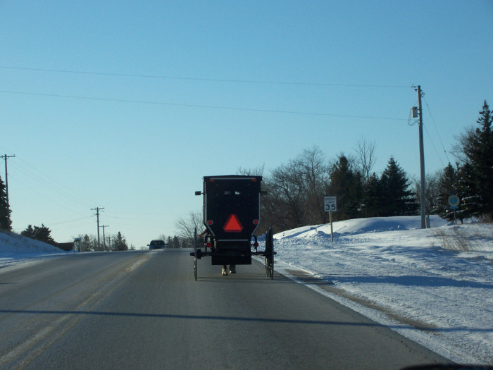 9) And living in the country means you could find yourself stuck behind an Amish horse-drawn buggy traveling on the road.