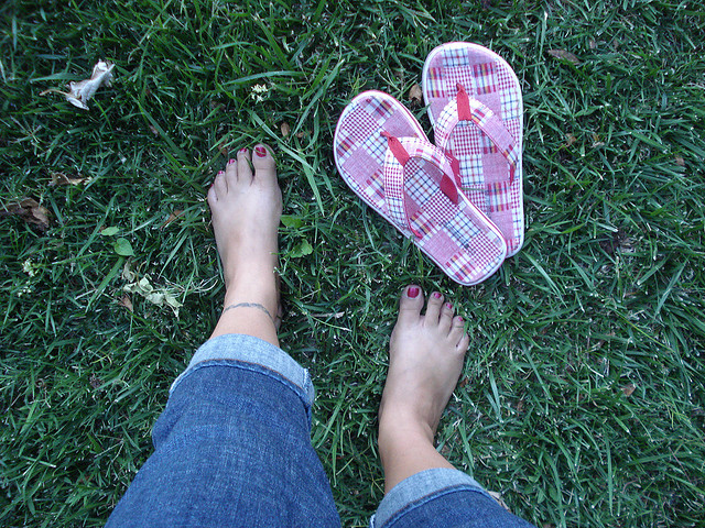 1. Flip flops (or even better, bare feet). Because we usually have really nice grass or sandy beaches to walk on.
