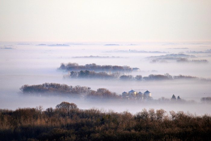 3. A sea of fog rolling over northern Iowa