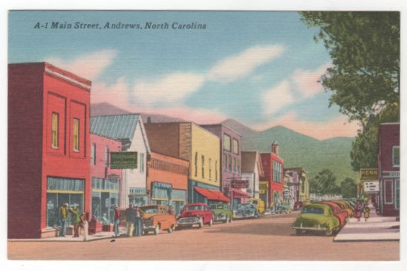2. This postcard of main street in Andrews takes you back in time. My favorite is the cars parked on the street...so vintage.