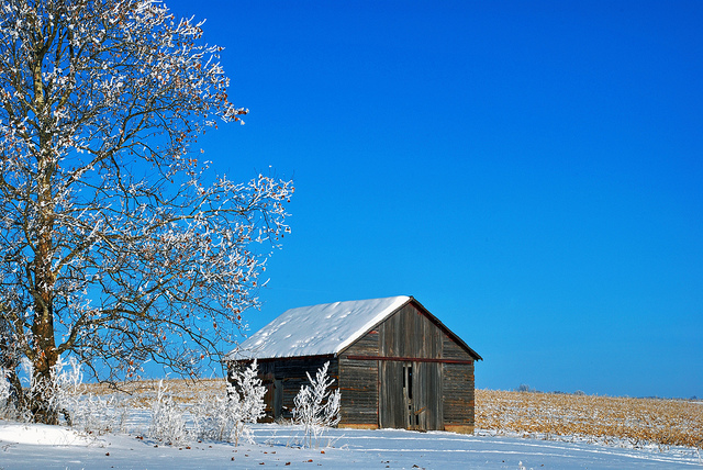 4. A charming, snow-capped barn south of Lisbon, Iowa.