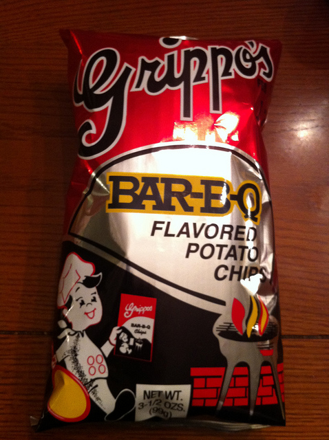 7) Grippo's chips—especially the Bar-B-Q ones.