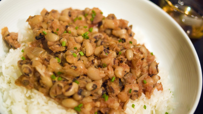 8. Hoppin' John or Blacked-eyed peas and rice - Some say there is a difference between the two and most think that Hoppin' John has added spices and seasonings, but in my house it was made the same way no matter which it was called.