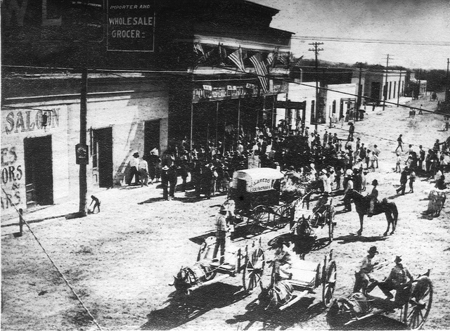 4) A view down Hidalgo Street of the Laredo Ice Factory cart in Laredo around 1910 (or even earlier).