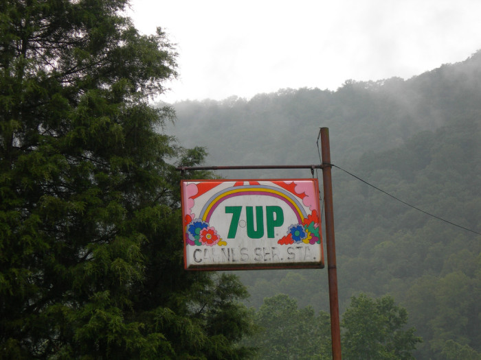 11) A vintage 7 UP sign somewhere in West Virginia.