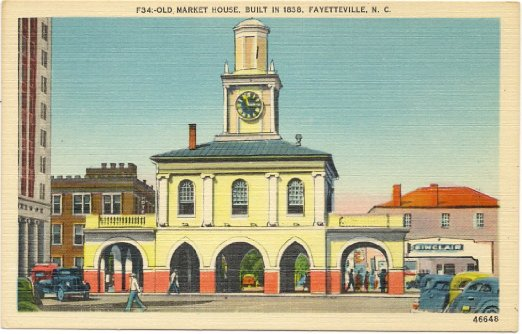 10. The old market house is alive with color in this postcard from Fayetteville.