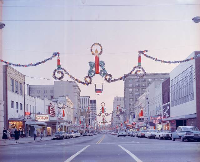13. 1968, Fayetteville Street decorated for Christmas in Raleigh.