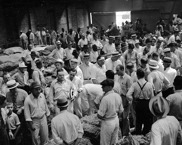 12. 1938, a tobacco auction in Rocky Mount.