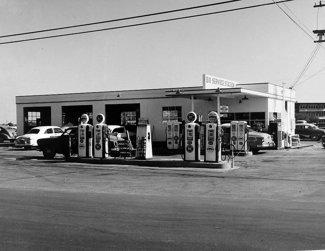 1) BX Service Station at the Bergstrom AFB, Texas Base Exchange in 1956. Oh, how gas prices have changed.