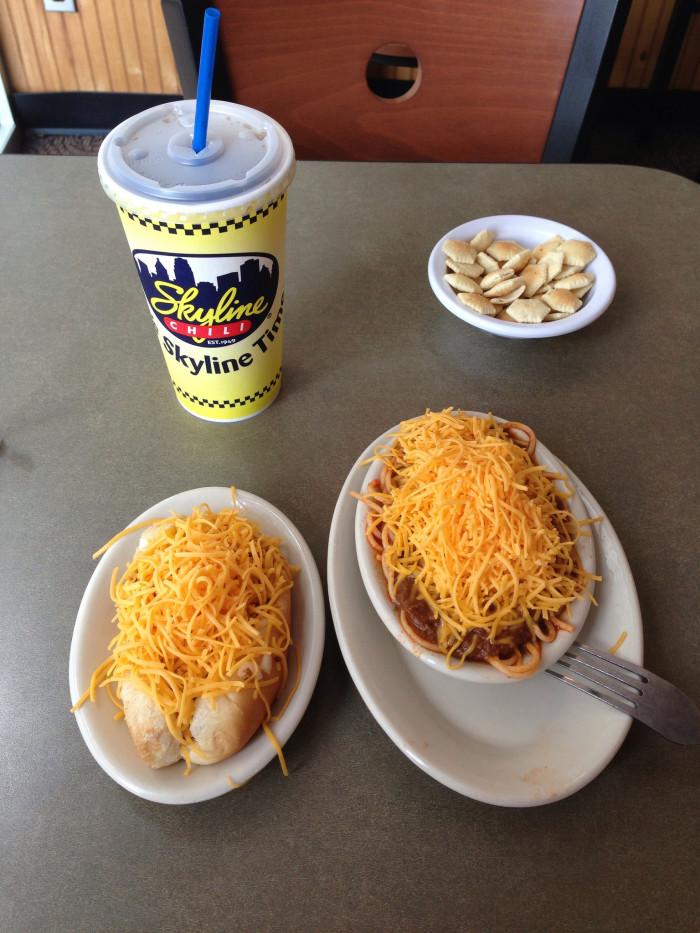 6) Cheese conies and Skyline Chili.