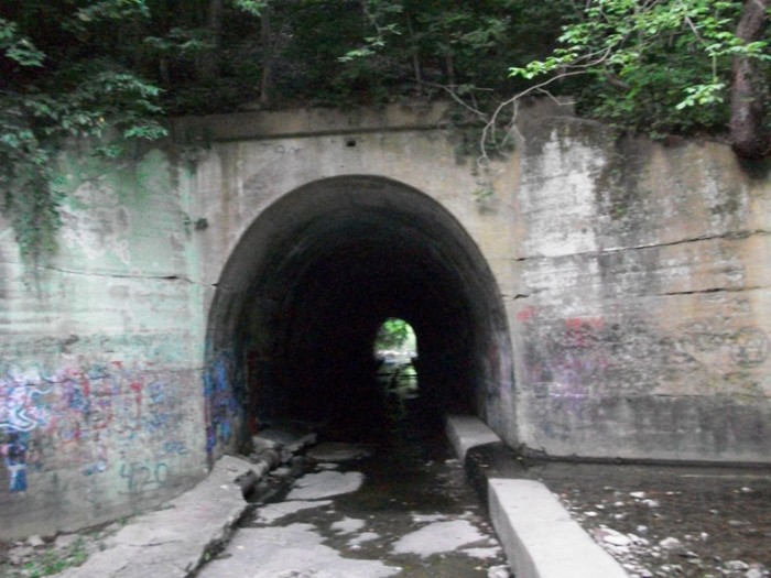 6. Elsmere Kentucky is home to the AllenDale trailer park, and behind it, in the woods, is the AllenDale Train Tunnel.  Legend has it a man hung himself from a hook above the tunnel. Some say his ghost appears swinging from above the tunnel. Others say he walks the tunnels and screams can be heard echoing through it.