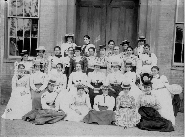 1. The E.B. Browning Society poses in front of Wesleyan Hall, 1899