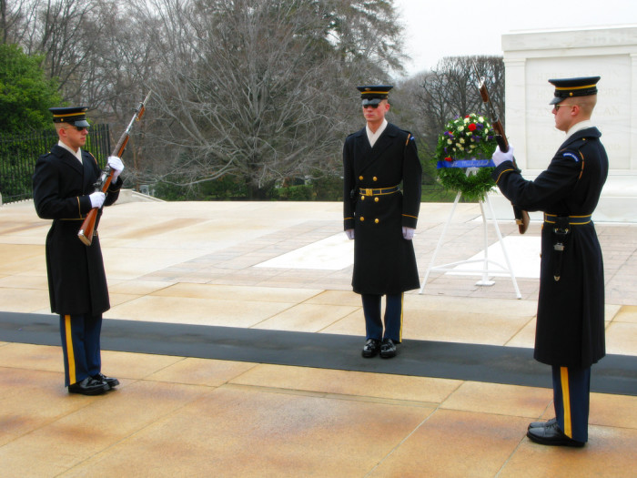 Stay for the changing of the guard, which happens every half hour until 7pm.
