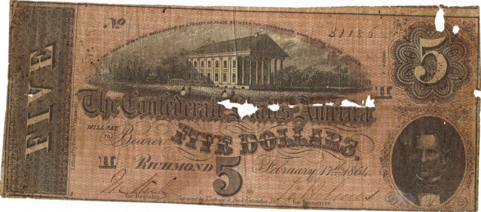 1. Front and Back of a Confederate $5 bill, 1864