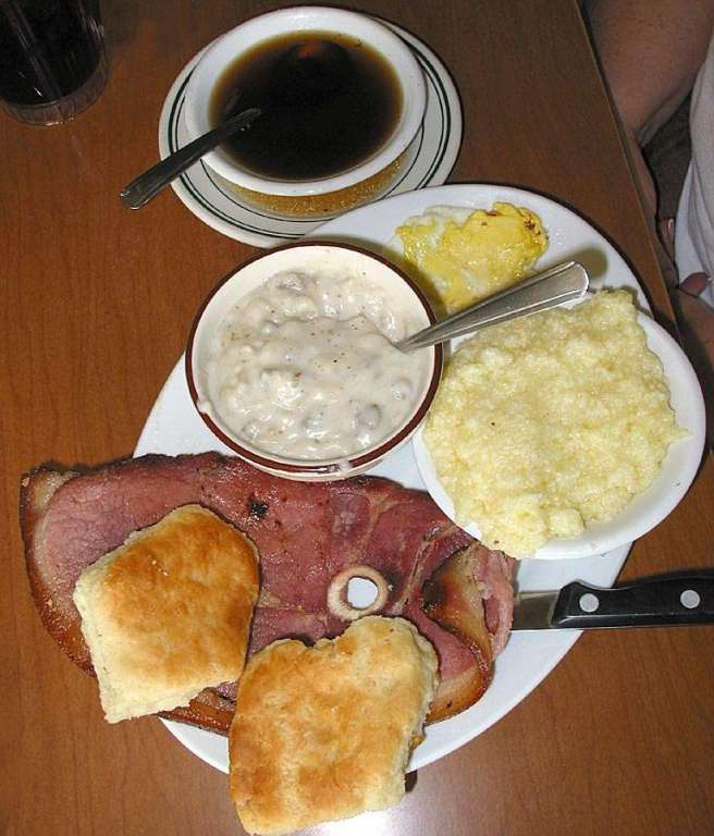 12. All together or eaten separate, a salty slice of country ham is good on a biscuit alone or smothered in gravy. We usually throw and egg or two in the mix for a complete, old fashioned, southern breakfast.