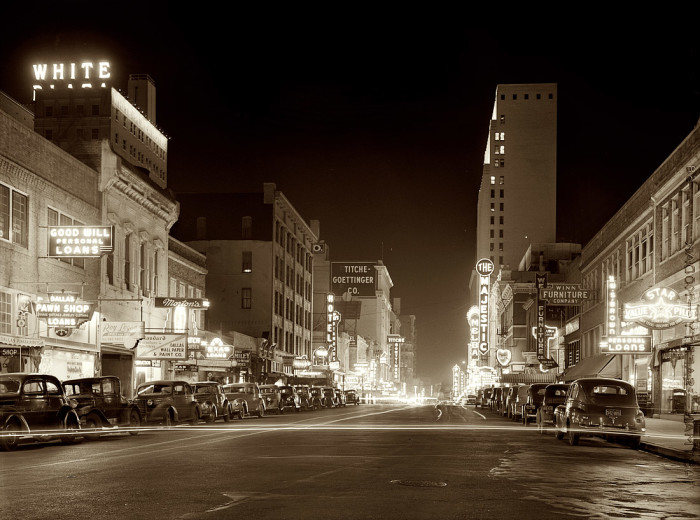 10) The downtown portion of Elm Street at night in Dallas in 1942. Dallas looks a bit different now, huh?