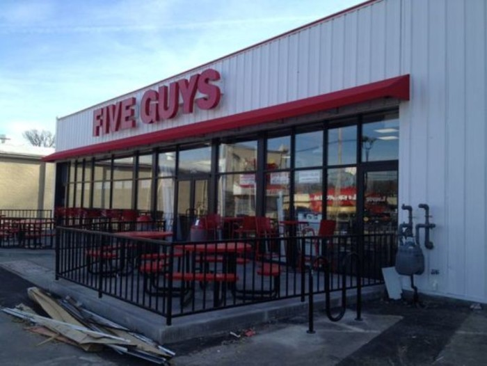 7. Five Guy's Burgers and Fries in Lexington make their burgers to order, and server free peanuts while you wait.