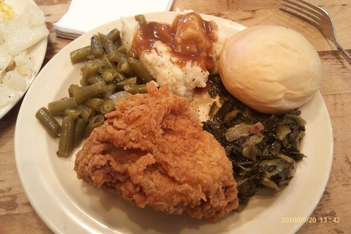 9. Rather it is from Kentucky Fried Chicken, or our own kitchens, fried chicken with greens, mashed potatoes, and a biscuit with gravy is a great meal.  Not to be cliché, but it works fantastic for a picnic too.