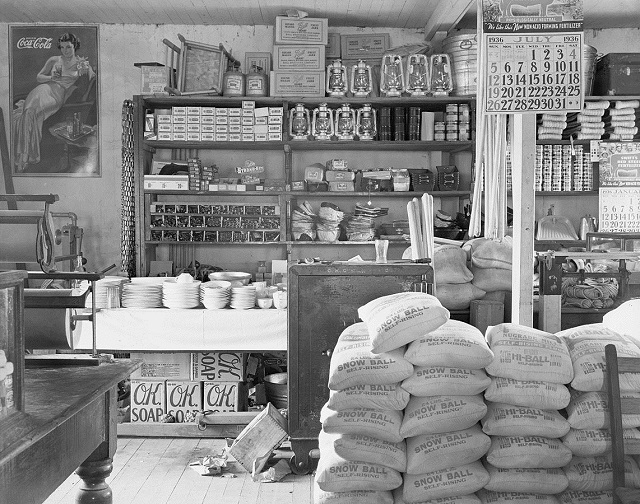 12. The interior of a general store in Moundville, 1936