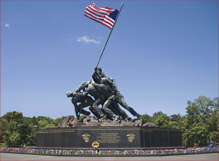 Just down from Arlington Cemetery, you can visit the Marine Corps Memorial – also known as the Iwo Jima Memorial.
