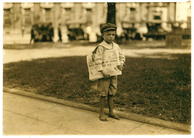 7. A 7 year-old newsie in Mobile, 1914