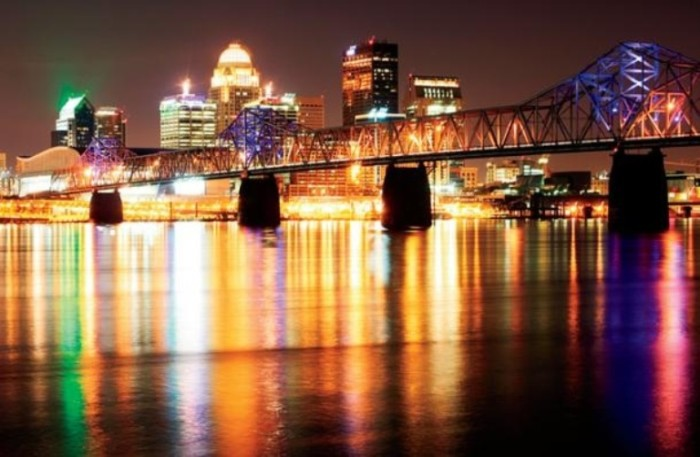 9. The George Rogers Clark Memorial Bridge offers those on the river front a colorful view along the water.