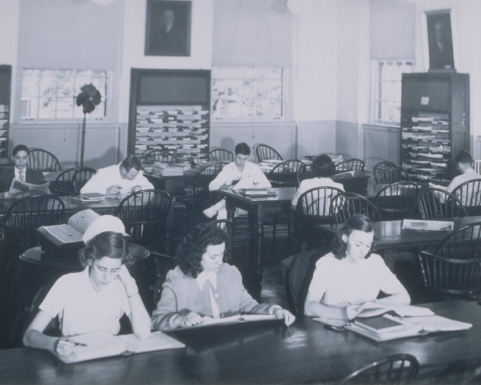 21. Nursing and medical students study at the Tompkins-McCaw Library at VCU, date unknown