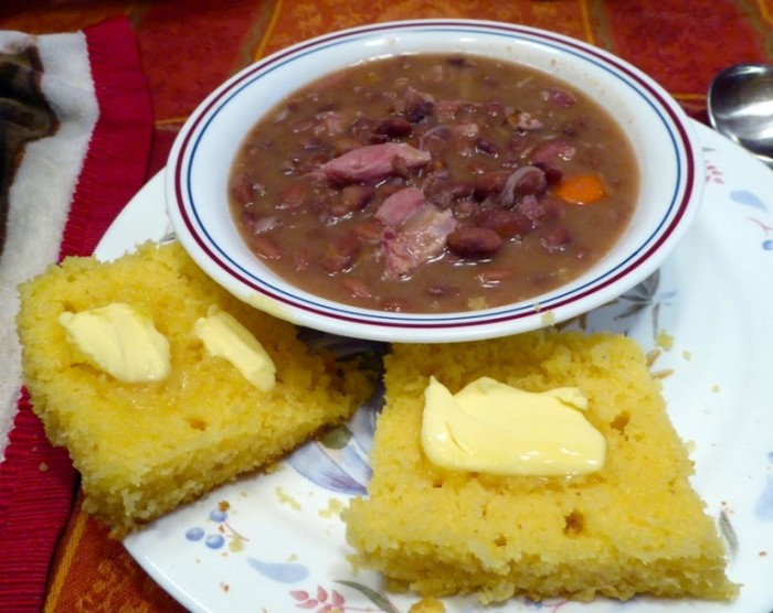 13. During the Depression, beans and cornbread was a staple for the table, as many families couldn't afford meats. It is still a hearty, traditional meal that can be altered by adding cheese, spices, or ham. Mixing some cornbread in a glass of milk is another treat my mother shared.