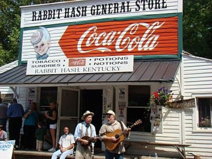 2. Rabbit Hash is a small country town where the General Store still gathers a crowd. It is rumored the name came from a dish that saved the citizens from starvation during a flood.