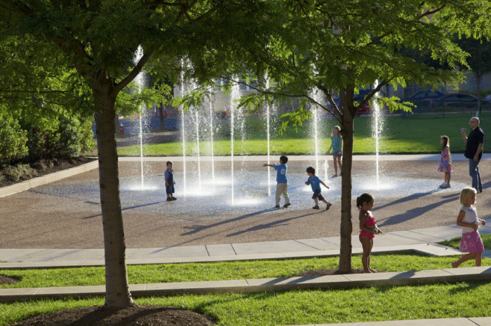 1. Go old school with sprinklers, fountains and sprayparks