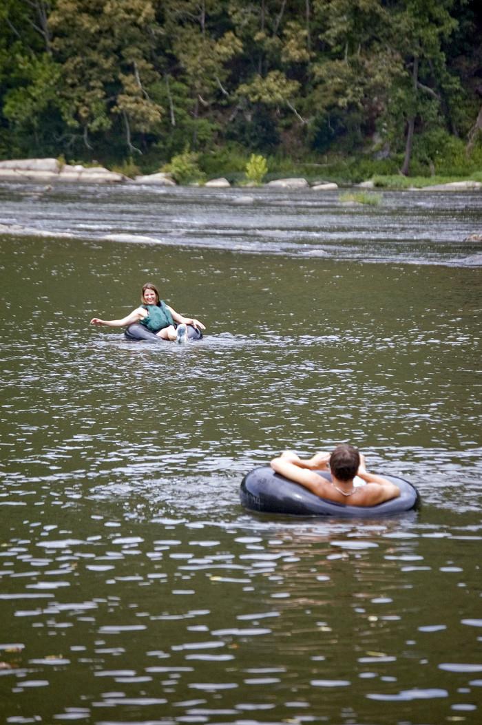 8. Make your own lazy river in a innertube or canoe